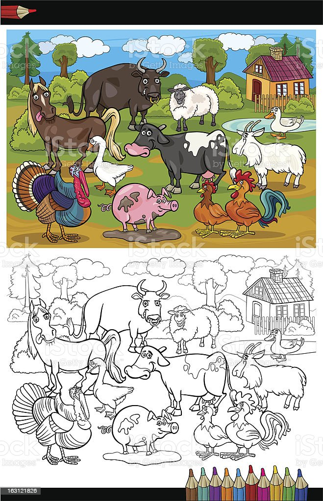 Ilustración de Dibujos Animados De Animales De Granja Y Animales ...