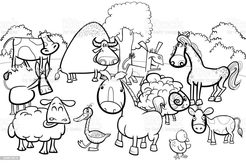 Bauernhof Tiere Zeichentrickfiguren Malbuch Stock Vektor Art und ...