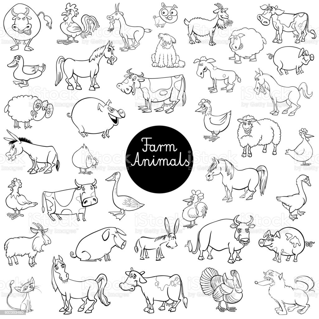 cartoon farm animal characters set color book vector art illustration