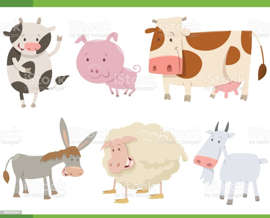 cartoon farm animal characters set royalty-free cartoon farm animal characters set stock vector art & more images of agriculture