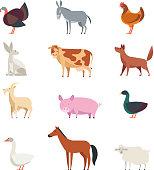 Cartoon farm animals and birds vector set isolated. Sheep, goat, cow, donkey, horse, pig, duck, goose, rooster and rabbit. Farm animal goat and horse, rooster and rabbit, duck and pig illustration