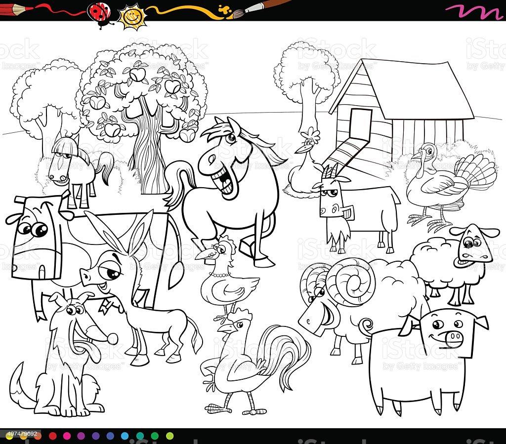 Ilustración de Dibujos Animados Animales De Granja Libro Para ...