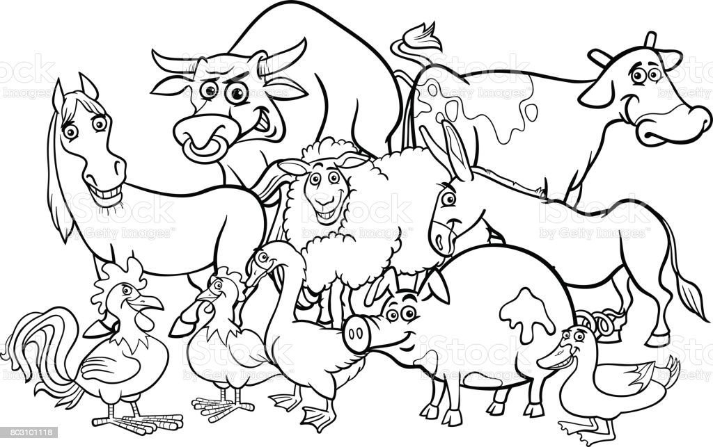 Cartoon Farm Animals Coloring Book Stock Vector Art More Images Of