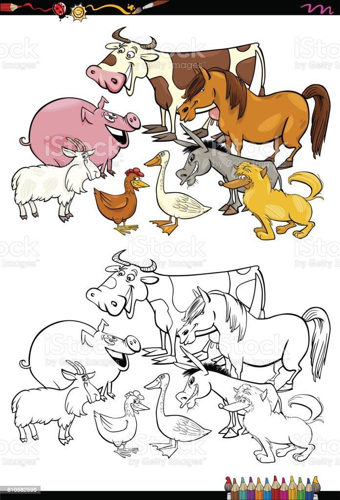 cartoon farm animals coloring book vector art illustration