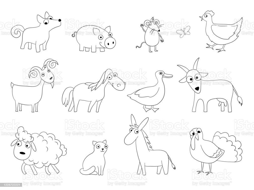 Cartoon Farm Animals Domestic Bool Horse Sheep Lamb ...