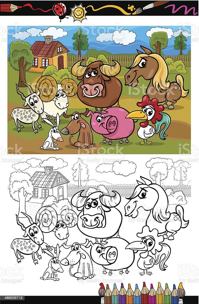 Animaux De La Ferme Pour Coloriage.Dessin Anime Animaux De La Ferme Pour Livre De Coloriage Vecteurs