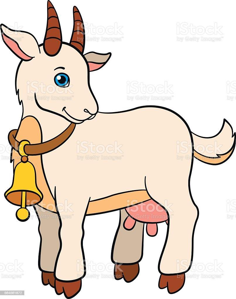 Cartoon Farm Animals For Kids Cute Goat Smiles Stock ...