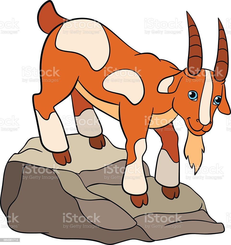 cartoon farm animals for kids cute goaton the rock stock vector