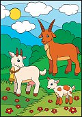 Cartoon farm animals for kids. Goat family.