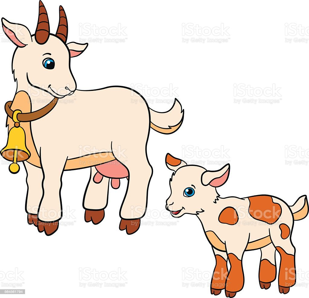 Cartoon Farm Animals For Kids Mother Goat With Her Baby Stock - Mother takes amazing pictures ever children animals farm