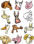 Cartoon farm animals heads set