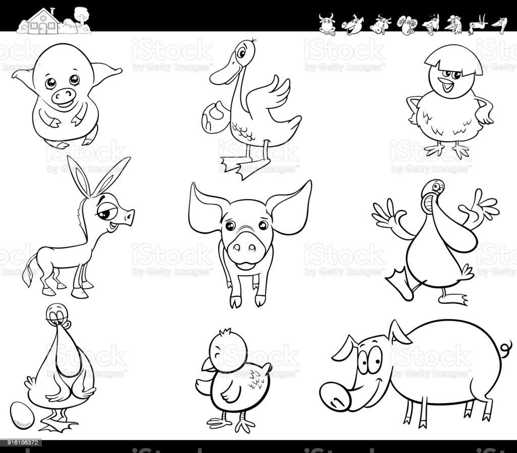çizgi Film çiftlik Hayvanları Set Boyama Kitabı Stok Vektör Sanatı