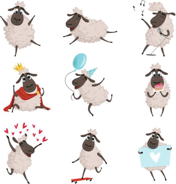 stockillustraties, clipart, cartoons en iconen met cartoon landbouwhuisdieren. schapen spelen en het maken van verschillende acties. vector tekens reeks isoleren op wit - schaap