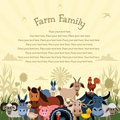 Cartoon Farm Animals Family