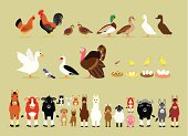 Cute Cartoon Farm Animal Characters including Birds (Hen, Rooster, Brown Quails, Mallard Ducks, Domestic Ducks, Goose, Pigeon, Muscovy Duck, Turkey, also Baby and the eggs of Quail, Chicken, Duck, and Goose) and Mammals in Front View version (Sheep, Llama, Donkey, Goat, Alpaca, Pig, Horse, Cow, Mule, Calf, Cow, Buffalo, Great Dane Dog, German Shepherd Dog, Cat, Hare, and Rabbit)