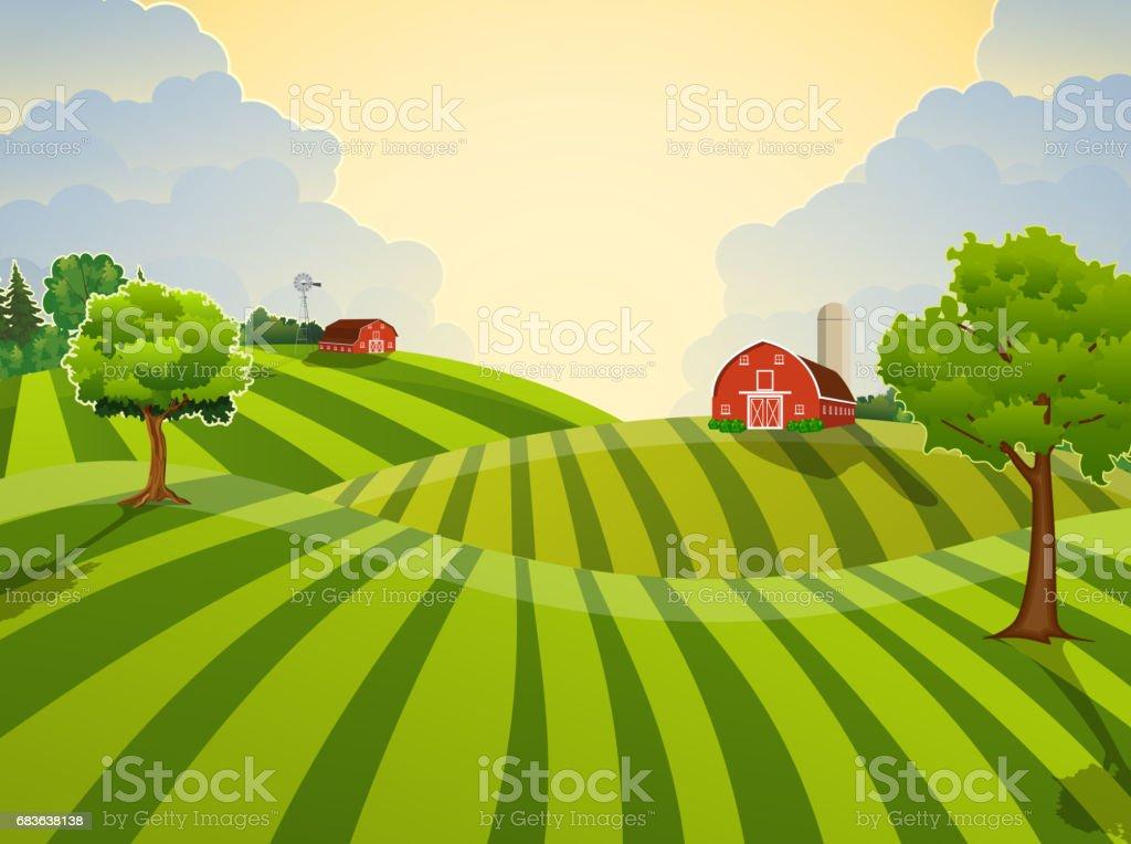 Cartoon Bauernhof grüne Feld säen, – Vektorgrafik