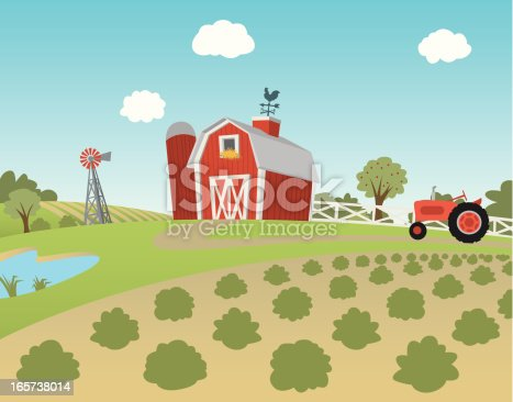 istock Cartoon farm landscape with fields and tractor 165738014