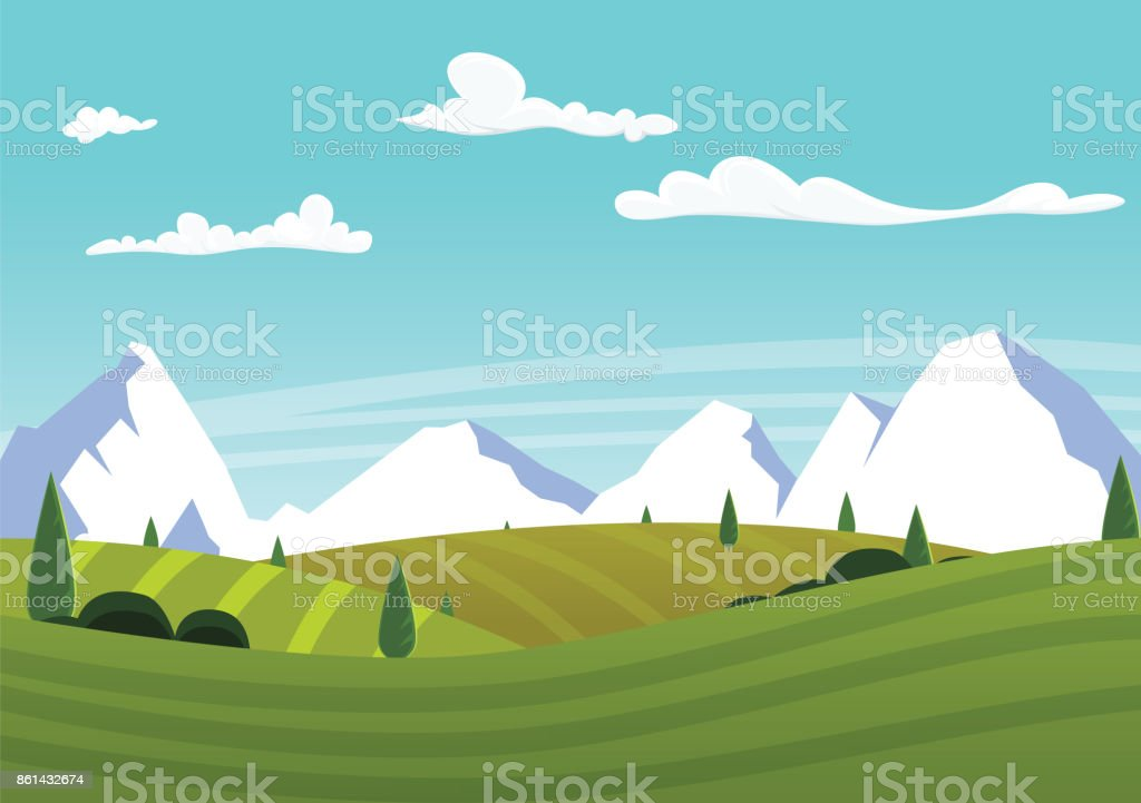 Cartoon farm landscape with green fields with alpes vector art illustration