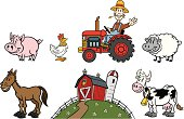 Great set of cartoon farm animals and a farmer. Perfect for a farm illustration. EPS and JPEG files included. Be sure to view my other illustrations, thanks!
