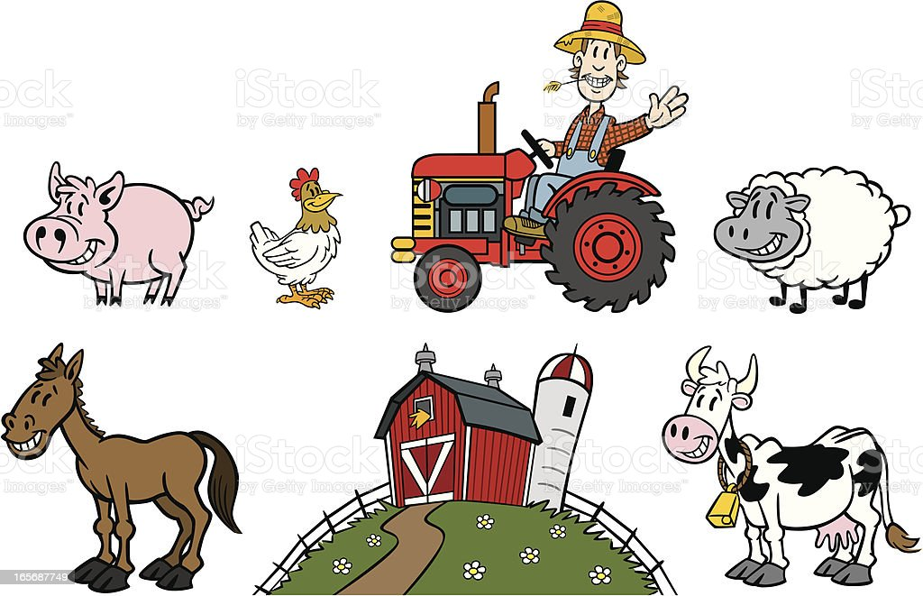 Cartoon Farm Set vector art illustration