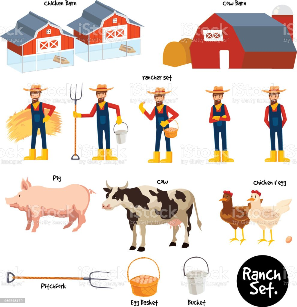 5 Cartoon Farmer Character Set With Tools Barn Pig Cow And