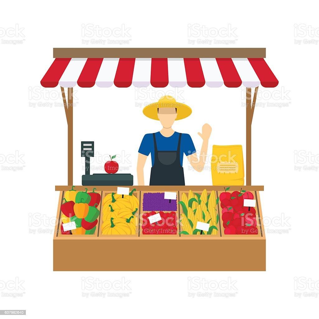 Cartoon Farmer Vegetable Seller. Vector vector art illustration