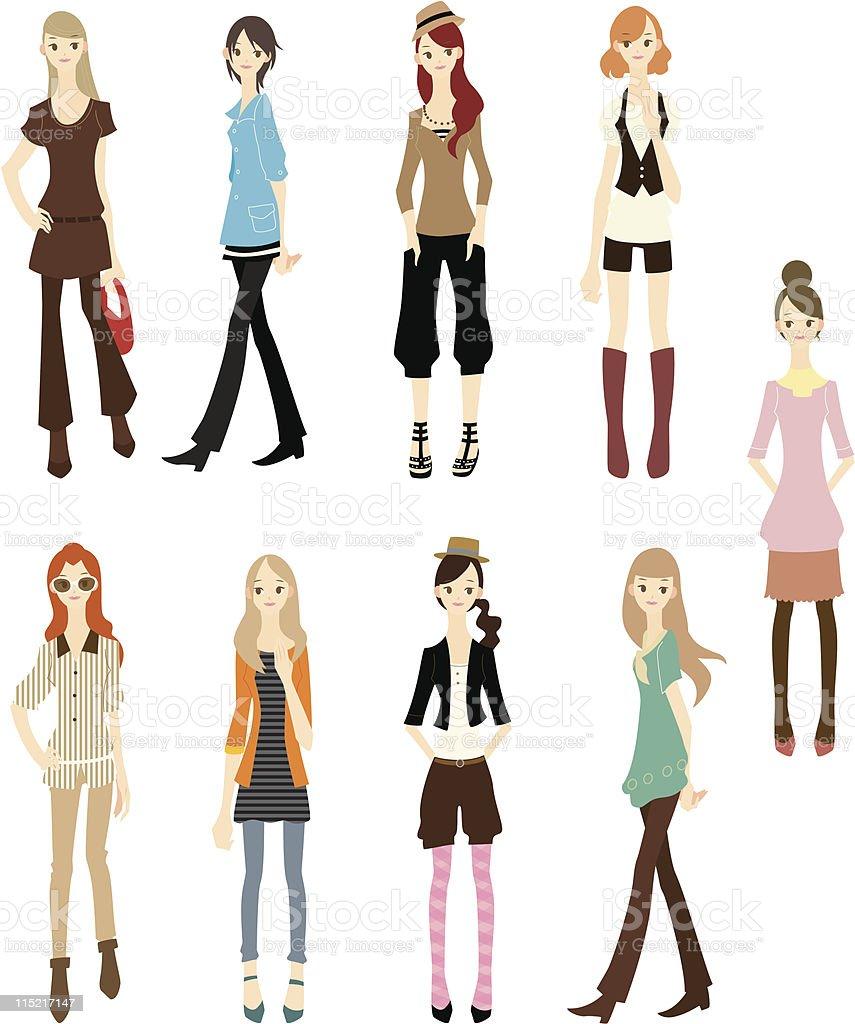 カットイラスト、ファッション女性のアイコンセット ベクターアートイラスト