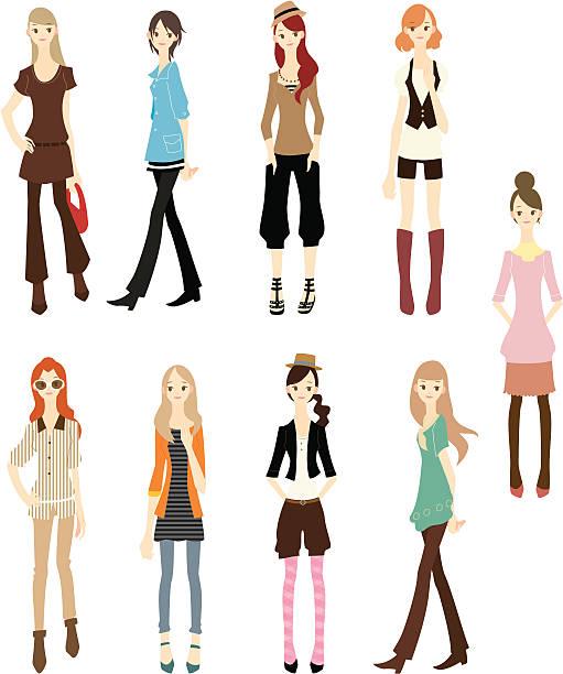 カットイラスト、ファッション女性のアイコンセット - 女性のファッション点のイラスト素材/クリップアート素材/マンガ素材/アイコン素材