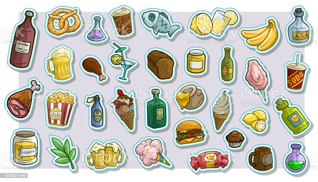 Cartoon fast food and drinks vector icon stickers vector art illustration