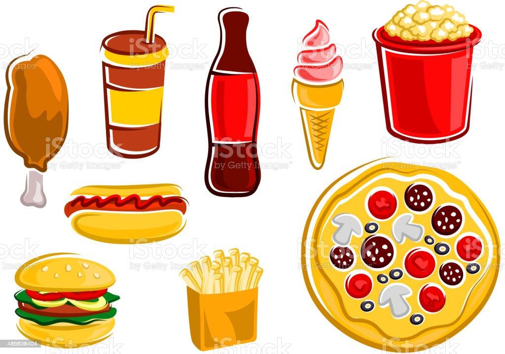 cartoon food fast drinks snacks vector pizza popcorn chicken illustration fries hamburger takeaway fried drink soda cream dog junk cup