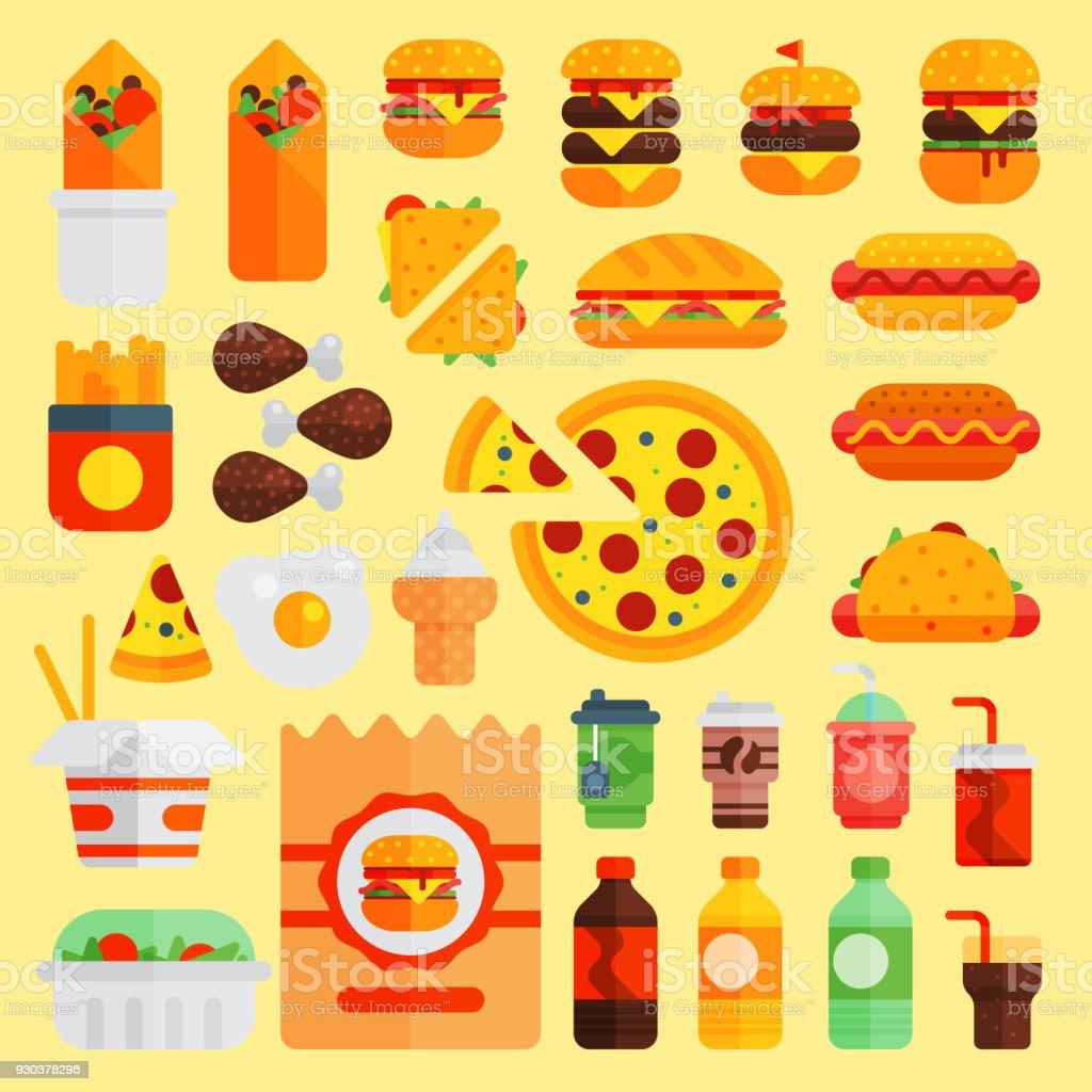 Cartoonfastfoodvektorkücheburger Und Pizza Getränke Symbole Auf ...