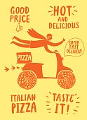 Hand drawn fast motorcyclist with Italian pizza. Pizza delivery illustration with different titles for your design.