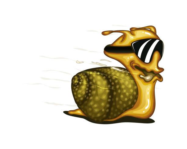 cartoon schnelles rennen weichtier lustig macht schnecke schnecke - lustige schnecken stock-grafiken, -clipart, -cartoons und -symbole