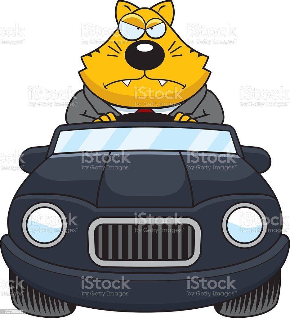 Cartoon Fat Cat Driving Angry vector art illustration
