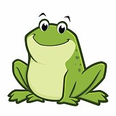Vector illustration of a cartoon green fat frog for design element