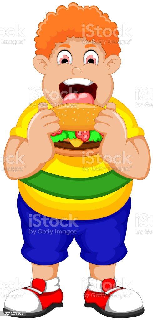 Cartoon Fat Man eating Burger Lizenzfreies cartoon fat man eating burger stock vektor art und mehr bilder von dick