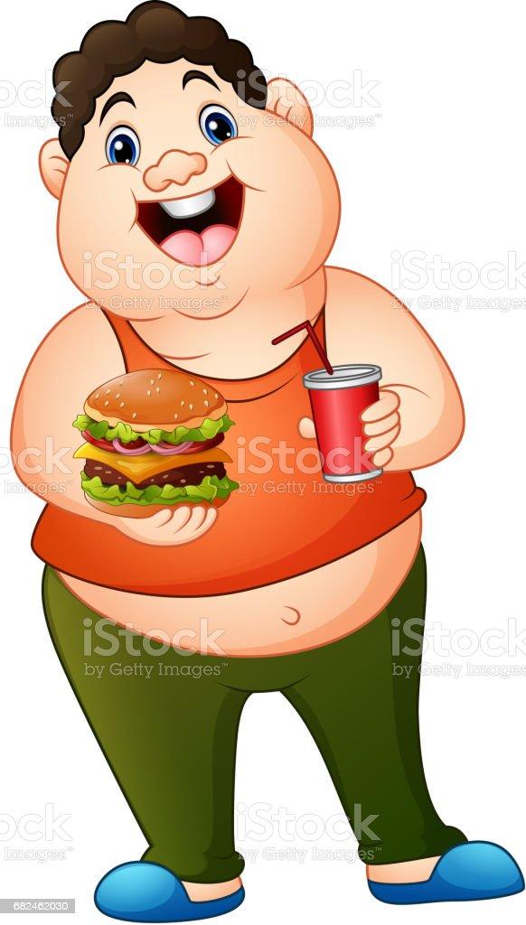 Çizgi film şişman adam soda içme ile hamburger holding royalty-free Çizgi film şişman adam soda içme ile hamburger holding stok vektör sanatı & acıkmış'nin daha fazla görseli