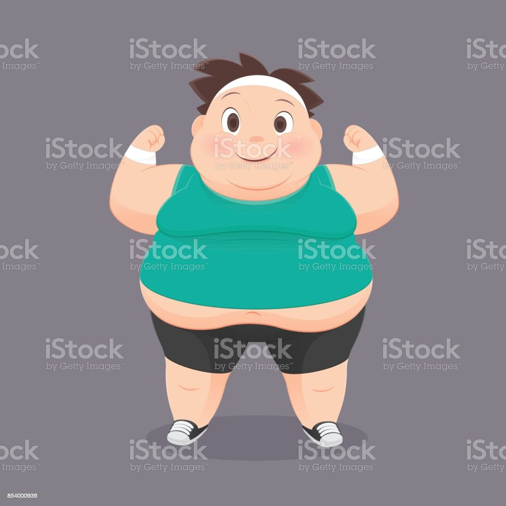 Cartoon Fat Man In A Sports Uniform, Vector Illustration, Concept With Exercise And Weight Loss vector art illustration