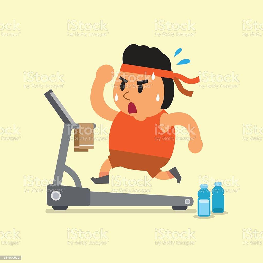 Cartoon fat man running on treadmill vector art illustration