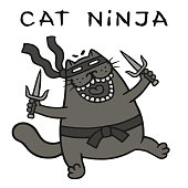 cartoon fat ninja cat with sais is attacking. funny warrior character. vector illustration.