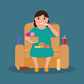 Cartoon fat woman sitting on couch eat junk food