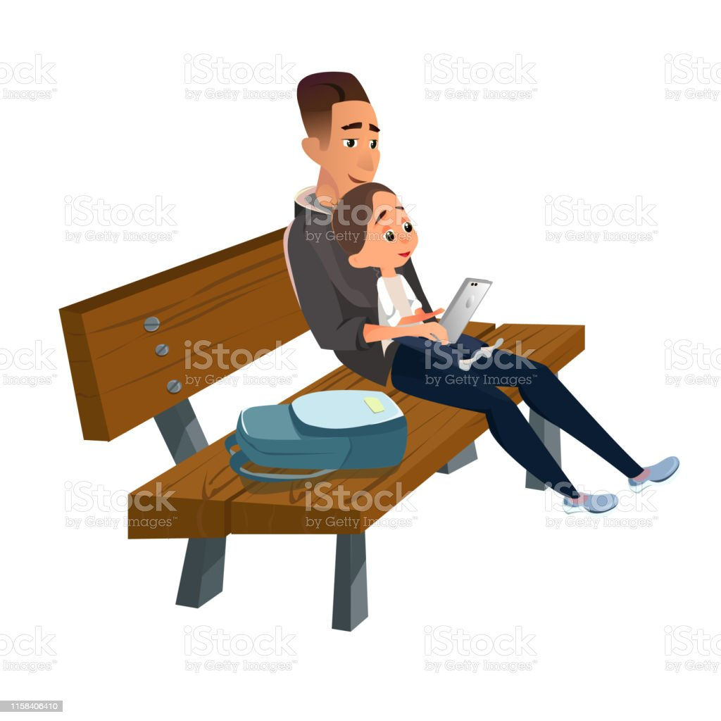 Remarkable Cartoon Father Sitting On Wooden Bench With Son Stock Ocoug Best Dining Table And Chair Ideas Images Ocougorg