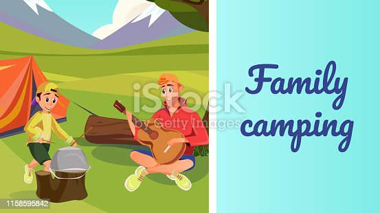 Cartoon Father Son Forest Camp Play Music Guitar