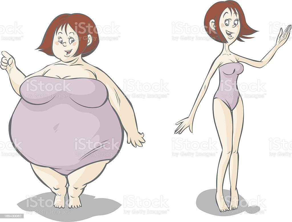 Cartoon Fatslim Female Characters Stock Vector Art & More Images of ...