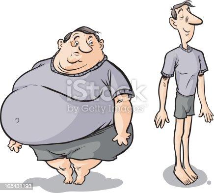 Vet slanke mannelijke stripfiguren. Clipart afbeelding
