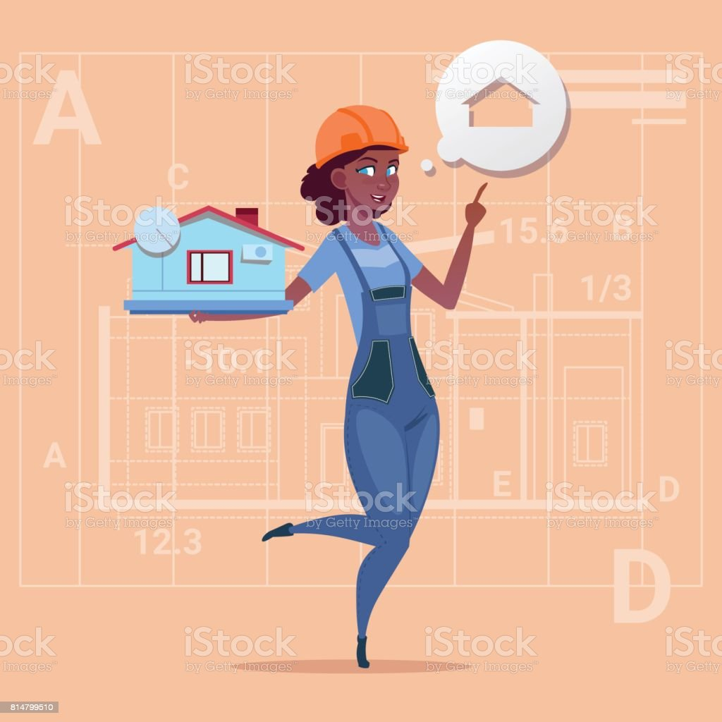 Cartoon Female Builder Holding Small House Ready Real Estate Over Abstract Plan Background African American Worker vector art illustration