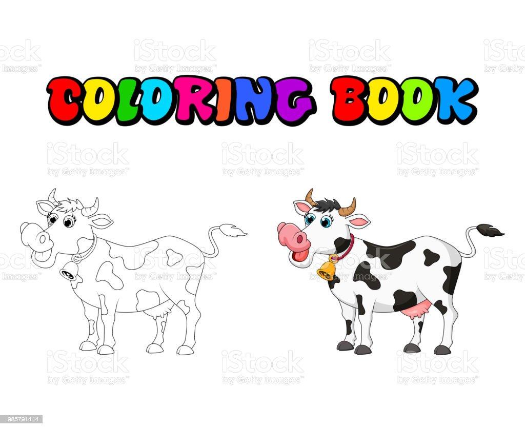 Ilustración De Hembra Vaca De Dibujos Animados Para Colorear Diseño