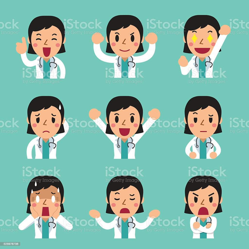 Cartoon female doctor faces showing different emotions for design.