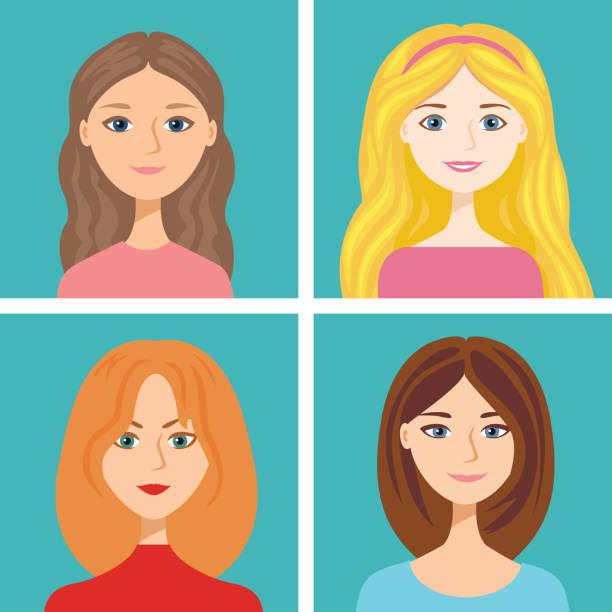 ilustraciones, imágenes clip art, dibujos animados e iconos de stock de caras femeninas de dibujos animados aisladas sobre fondo azul. ilustración vectorial de chicas con diferentes colores de pelo en estilo plano. mujer rubia, morena, de pelo castaño y pelirroja. lindos avatares. - cabello largo
