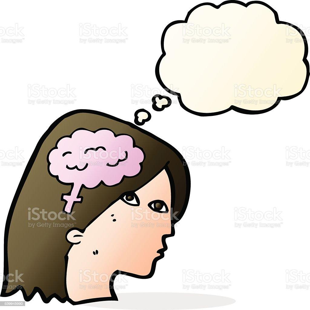 Comic Weibliches Kopf Und Gehirnsymbol Mit Gedankenblase Stock ...